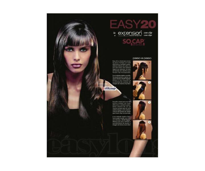 SO.CAP EASY 20 COM CLIP cabelo NaturaL 50/55 CM - 1B