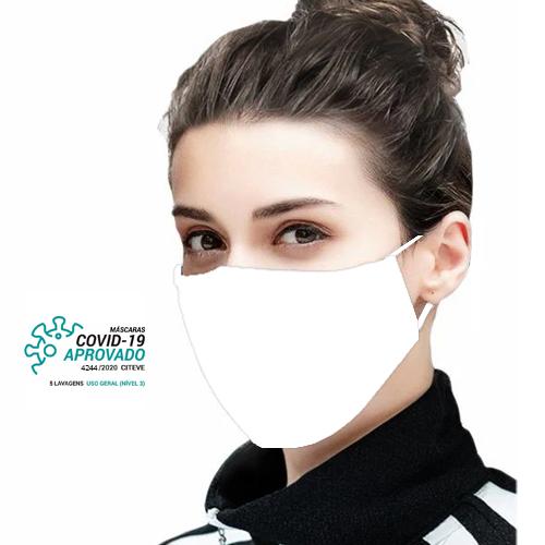 Máscara Social Reutilizável Certificada Lavável Branca