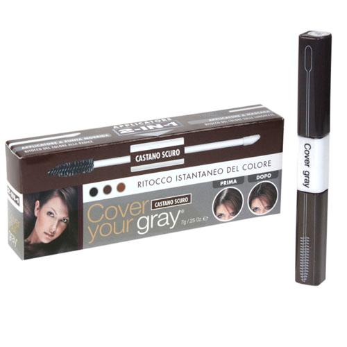 Corretor Instantâneo de Côr Cover Your Gray Aplicador 2 Em 1 Castanho Escuro