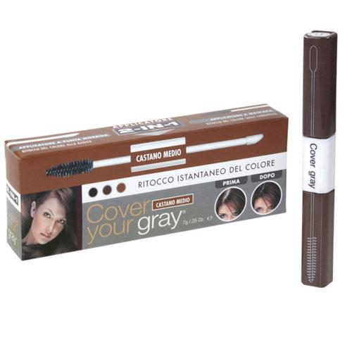 Corretor Instantâneo de Côr Cover Your Gray Aplicador 2 Em 1 Castanho Médio